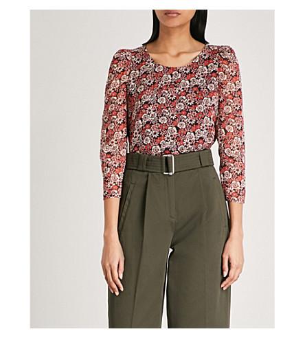 CLAUDIE PIERLOT Floral-print chiffon blouse (Black