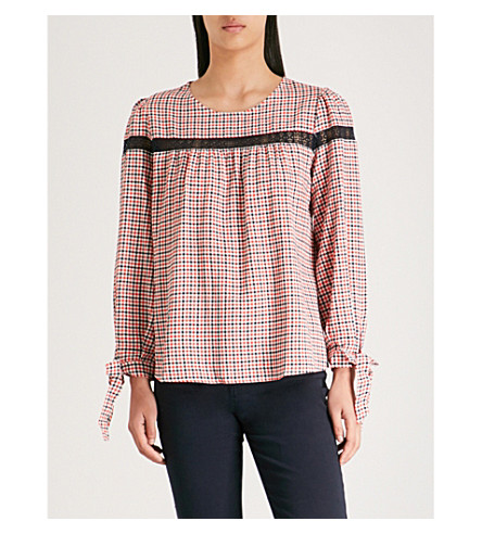 CLAUDIE PIERLOT Woven checked-print long-sleeved top Multico Outlet Locations For Sale Cheap Sale Excellent Whole World Shipping Cheap Best Wholesale dMcACSCO