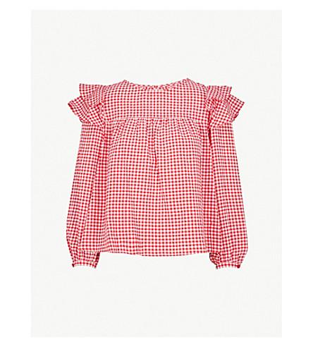 CLAUDIE PIERLOT Ruffled gingham blouse (Red