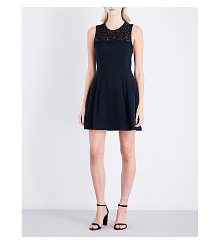 CLAUDIE PIERLOT Rabelais lace-detail crepe dress (Marine