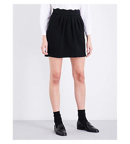 CLAUDIE PIERLOT Sylvia scalloped woven skirt (Noir