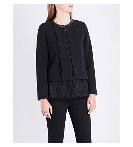 CLAUDIE PIERLOT Leather-trim woven jacket (Noir