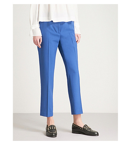 CLAUDIE PIERLOT Tapered cropped high-rise wool-blend trousers (Orange