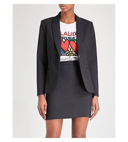 CLAUDIE PIERLOT Notch-lapel wool-blend blazer (Black