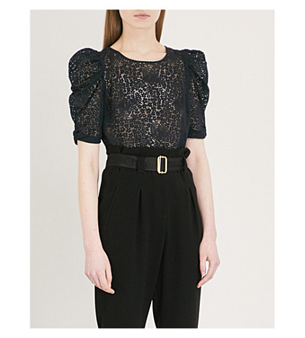 CLAUDIE PIERLOT Floral-lace top (Blue