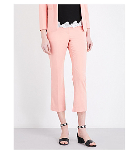 CLAUDIE PIERLOT Pauletta high-rise flared gabardine trousers (Blush