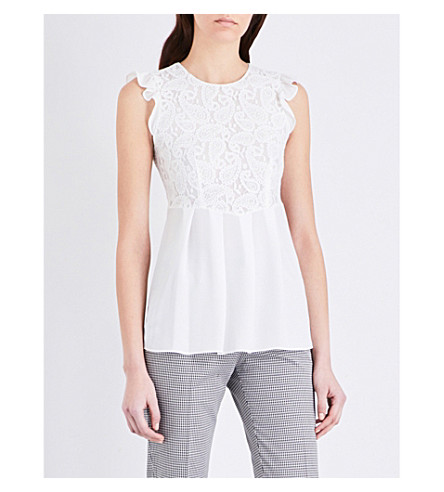 CLAUDIE PIERLOT Belleile paisley lace top (Ecru