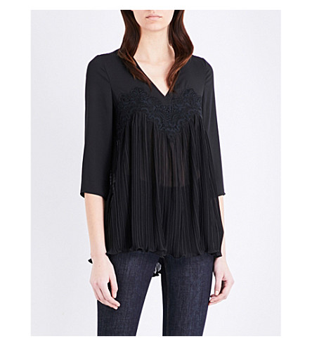 CLAUDIE PIERLOT Bach pleated crepe top (Noir
