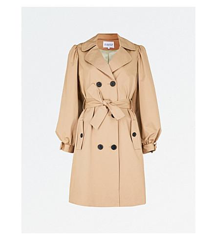 CLAUDIE PIERLOT Bow-detail cotton trench coat (Cream
