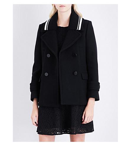 CLAUDIE PIERLOT Pia ribbed-collar wool-blend coat (Noir