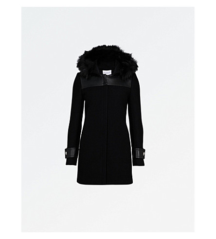 CLAUDIE PIERLOT Hooded wool-blend coat (Noir