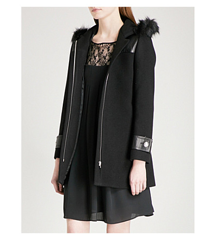 CLAUDIE PIERLOT Hooded wool-blend coat (Noir