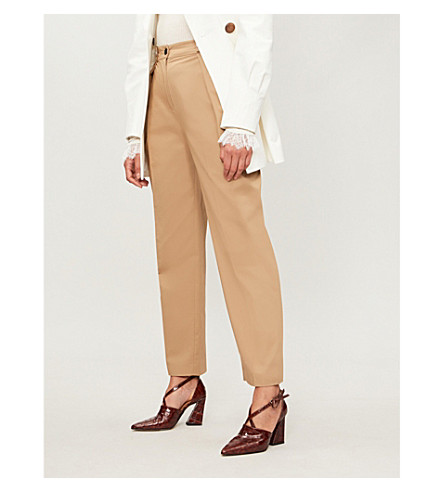 CLAUDIE PIERLOT Paloma tapered high-rise cotton-twill trousers (Camel