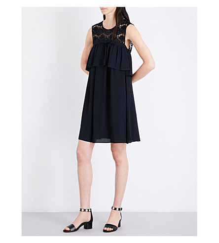 CLAUDIE PIERLOT Richie lace dress (Marine
