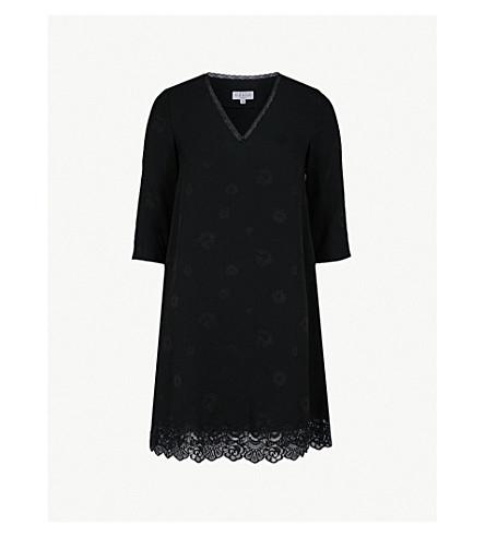 CLAUDIE PIERLOT Floral-print lace-trimmed crepe dress (Black