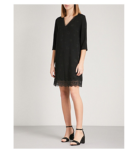 CLAUDIE PIERLOT Floral-print lace-trimmed crepe dress (Black