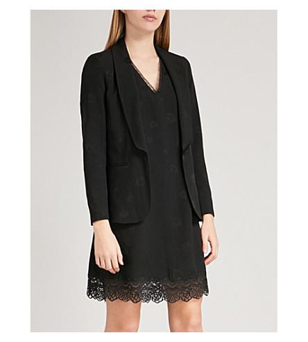 CLAUDIE PIERLOT Floral-print crepe blazer (Black