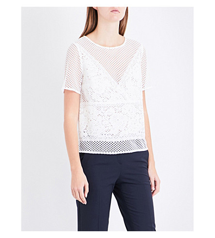 CLAUDIE PIERLOT Belleville lace and mesh embroidered top (Ecru