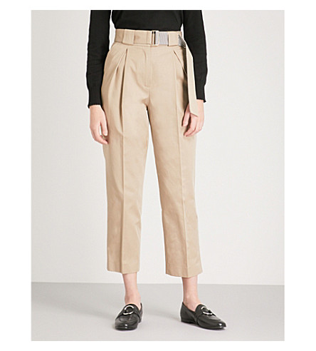 CLAUDIE PIERLOT Belted cropped tapered cotton trousers (Cream