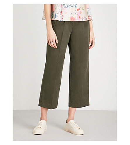 CLAUDIE PIERLOT Buckle fastening cotton trousers (Khaki/olive