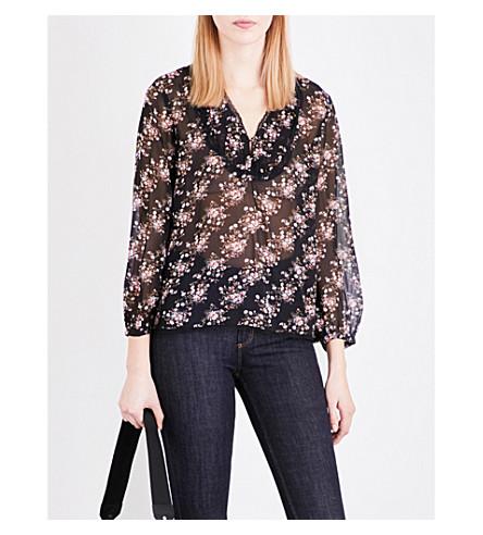 CLAUDIE PIERLOT Balkan floral-print chiffon blouse (Noir