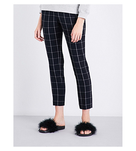 CLAUDIE PIERLOT Pia windowpane-check crepe trousers (Marine
