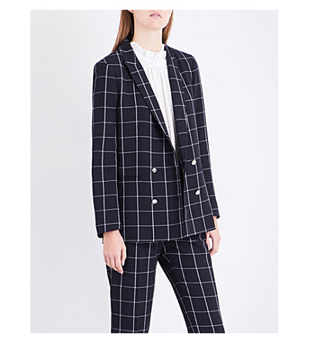 CLAUDIE PIERLOT Verlaine checked crepe jacket (Marine