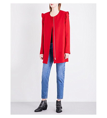 CLAUDIE PIERLOT Frilled shoulder twill coat (Ruby