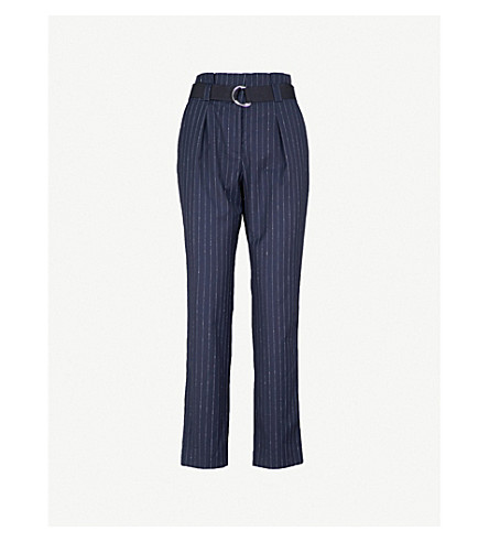 CLAUDIE PIERLOT Pinstriped tapered high-rise wool-blend trousers (Blue