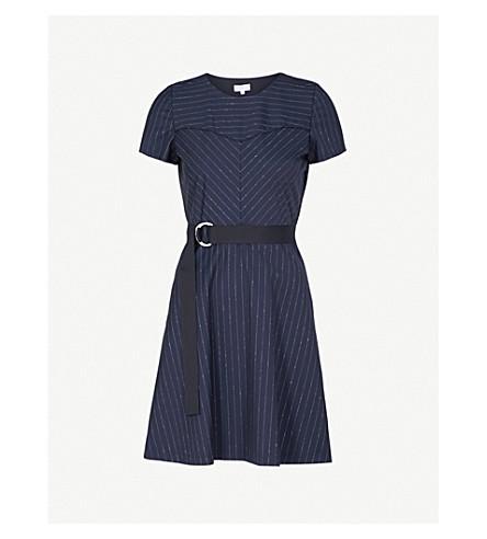 CLAUDIE PIERLOT Pinstriped wool-blend dress (Blue