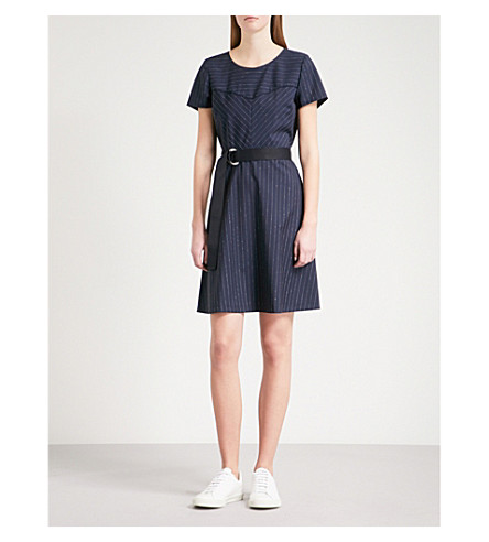 CLAUDIE PIERLOT Pinstriped wool-blend dress (Blue