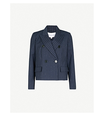 CLAUDIE PIERLOT Pinstriped double-breasted wool-blend jacket (Blue