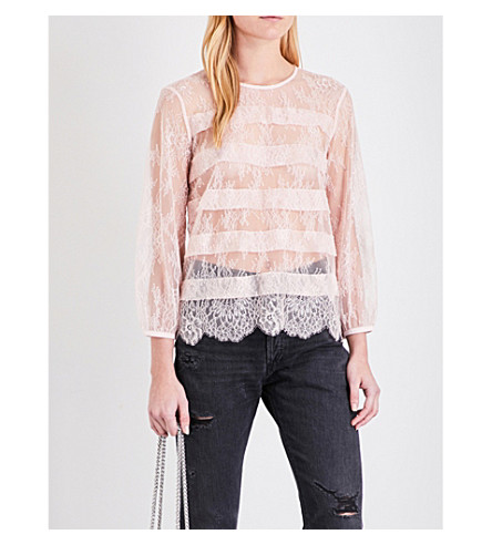 CLAUDIE PIERLOT Bardot lace top (Rose+pale