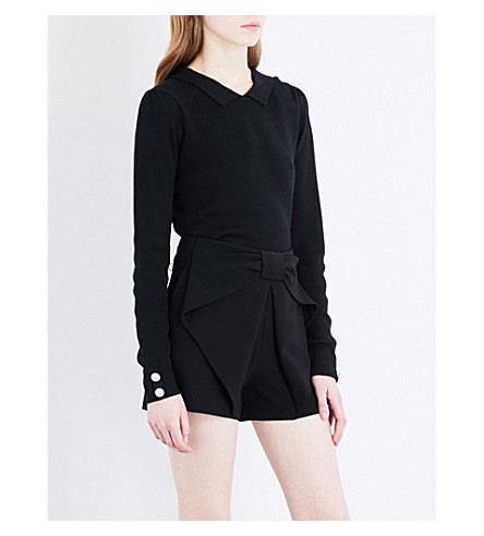 CLAUDIE PIERLOT Bow-detail crepe shorts (Noir