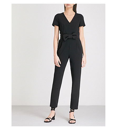 CLAUDIE PIERLOT Joe bow-detail crepe jumpsuit (Black