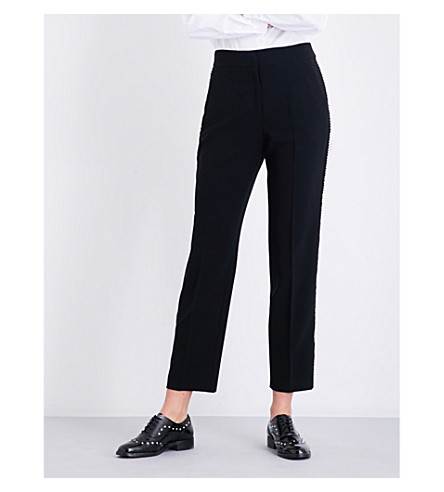 CLAUDIE PIERLOT High-rise faux-pearl tapered twill trousers (Noir