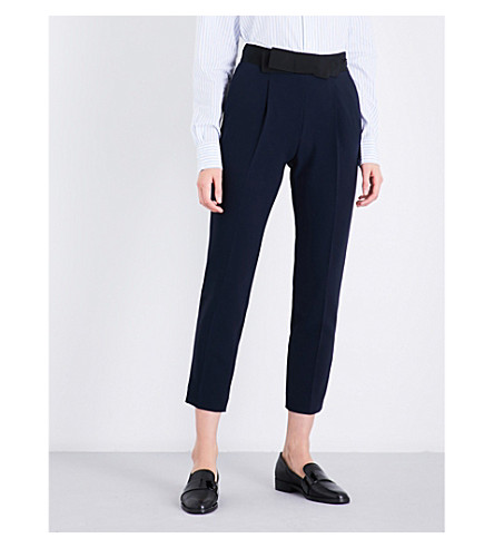 CLAUDIE PIERLOT Popup tapered high-rise crepe trousers (Marine