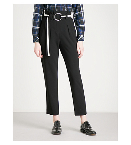 CLAUDIE PIERLOT Belted tapered crepe trousers (Noir