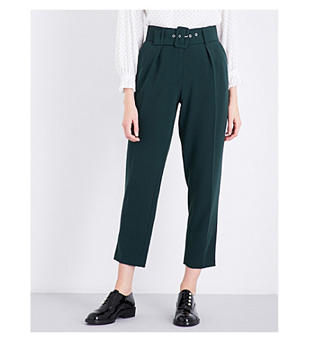 CLAUDIE PIERLOT Belted tapered crepe trousers (Vert+sapin