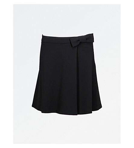 CLAUDIE PIERLOT Bow-detailed high-rise crepe mini skirt (Noir