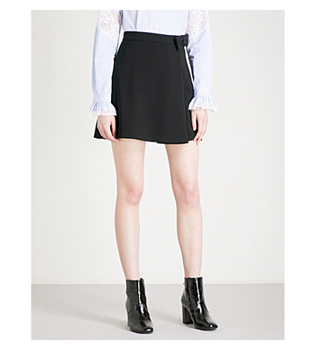 CLAUDIE PIERLOT Bow-detailed high-rise crepe mini skirt (Noir