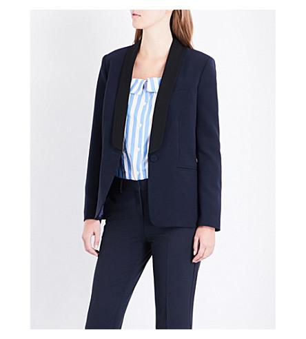 CLAUDIE PIERLOT Volupte contrast-lapel woven jacket (Marine