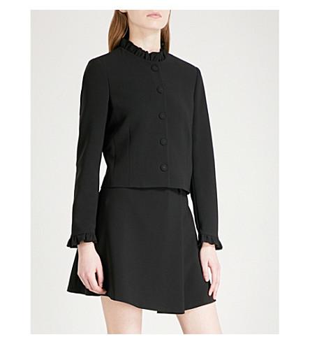 CLAUDIE PIERLOT Ruffled-collar crepe jacket (Noir