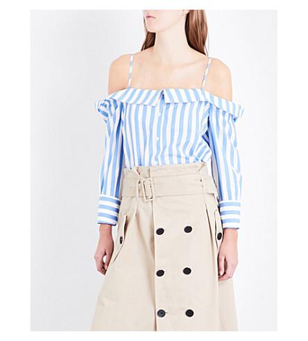 CLAUDIE PIERLOT Chabada off-the-shoulder striped cotton-poplin shirt (Ecru