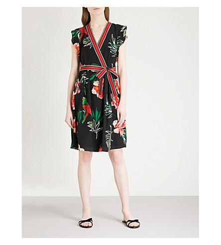 CLAUDIE PIERLOT Wrap-over silk-chiffon mini dress (Black