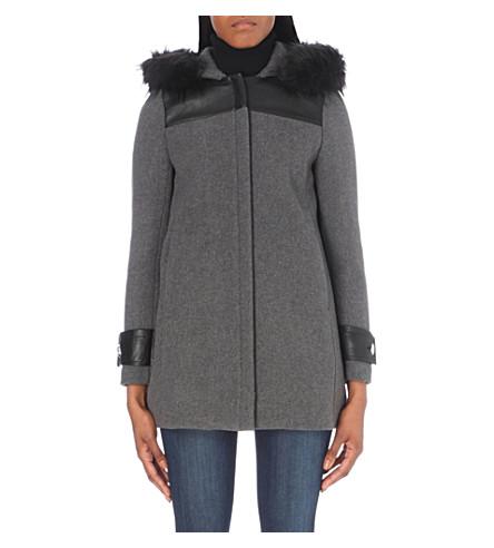 CLAUDIE PIERLOT Great bis wool-blend coat (Gris+chine