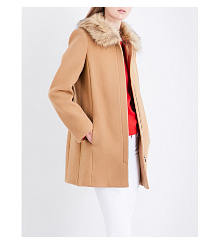 CLAUDIE PIERLOT Faux-fur collar wool and cashmere blend coat (Camel