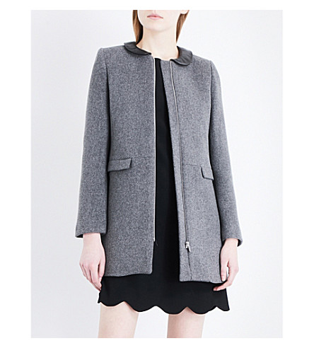 CLAUDIE PIERLOT Faux-leather collar wool and cashmere-blend coat (Gris