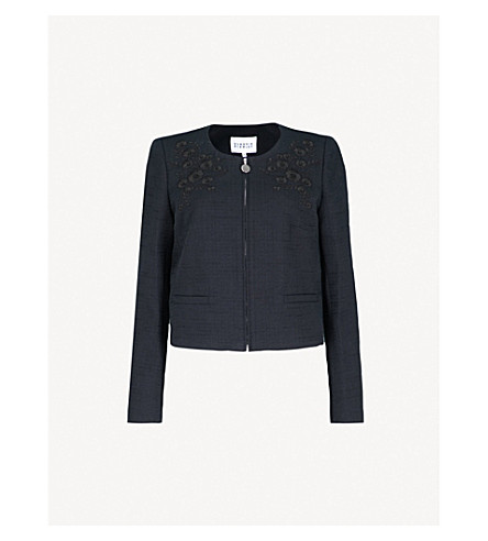 CLAUDIE PIERLOT Embroidered-detail cotton jacket (Blue