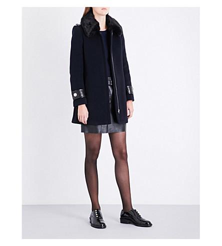 CLAUDIE PIERLOT Faux-fur collar wool-blend coat (Marine